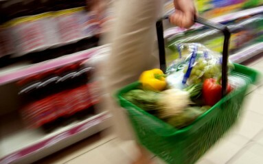 Commercial Photography Example - supermarket basket in motion