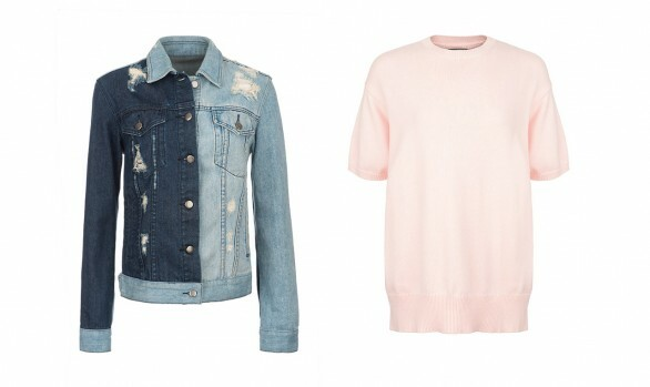 Invisible Mannequin retouched image of a denim jacket and pink ladies knit